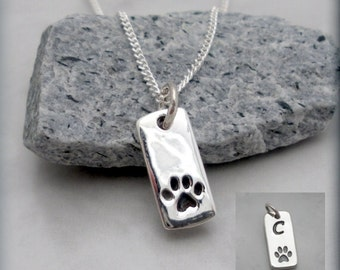 Dog Paw Necklace, Pet Jewelry, Sterling Silver, Pet Necklace, Charm, Tag, Paw Print, Animal, Pet Lover, Dog Lover, Pawprint