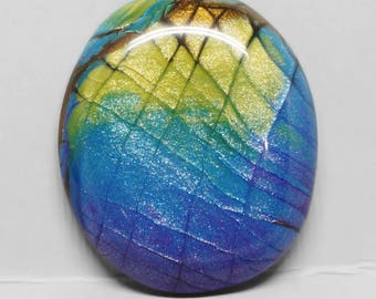 Faux Labradorite Oval Cabochon, Purple, Blue, Yellow and Brown