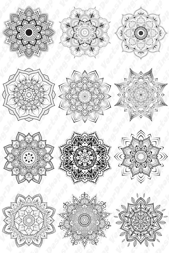 Elementos de design.12 de vector de Mandala. Vector.Printable página ...