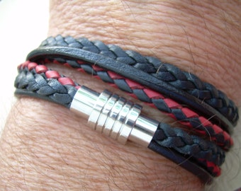 Men's Leather Bracelet, Men's Bracelet, Wrap Bracelet, Stainless Steel Magnetic Clasp, Men's Gift, Bracelet, Men's Jewelry,Father's Day