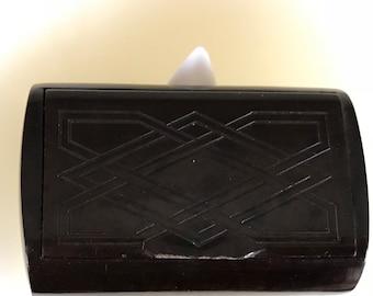 Vintage Bakelite Snuff Box with Patterned Lid. 1930s.