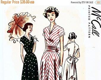 25% off SALE 1940s Vintage McCall's Pattern V Neckline Dress Flare Skirt Big Bow Sash size 15 Bust 33