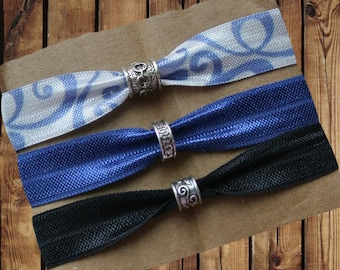 Beaded Hair Ties/Elastics No Crease 3 Pack Blue and White Swirl, Blue and Black