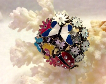 Enamel on metal butterfly ladybug rhinestone bling ring. Free ship