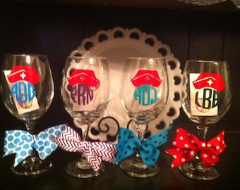 Personalized Nurse Wine Glass/Nursing Student Gift/Nurses week/Nursing student