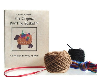 Knitting Kit Sheep Ornament  Lamb Holiday Decorations Knit Kit Ornament Yarn and Pattern Brown Sheep Holiday Decoration