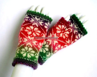 Red Green White Fingerless Gloves Hand Knitted Fingerless Gloves Arm Warmers Texting Gloves Driving Mittens Wrist Warmers Fingerless Mittens