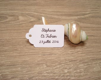10 white tags to personalize - wedding, christening, birthday,...