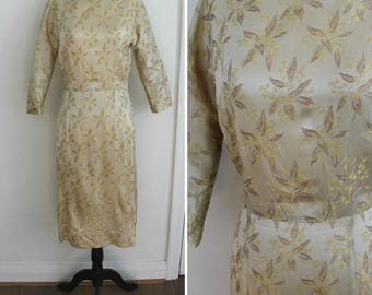 Pour the Champagne Dress - 50s champagne floral brocade wiggle dress, small