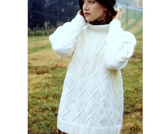 INSTANT DOWNLOAD PDF Knitting Pattern  Aran Tunic Sweater Jumper Pullover Diamond Cables