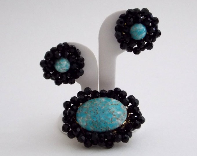 Black Crystal Beaded Turquoise Demi Parure - Vintage 1960s Beaded Brooch and Earrings Set