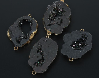 Black Druzy Connector Dyed Teal Freeform Double Bail Druzy Pendant with Electroplated 24k Gold Edge Small 6-7mm Thickness