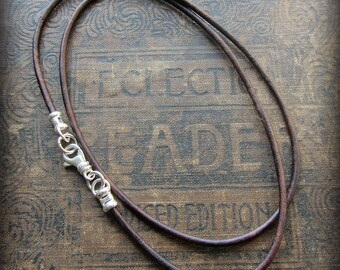 Leather Cord Necklace with Sterling Swivel Clasp - Sterling and Leather cord necklace - mens - womens - distressed Dark Brown