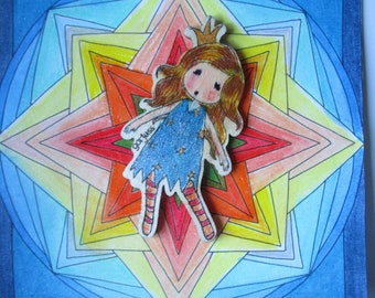 Embellishment Free Ship wooden girl Santoro Gorjuss 5 inches hand painted, glitter hand colored background