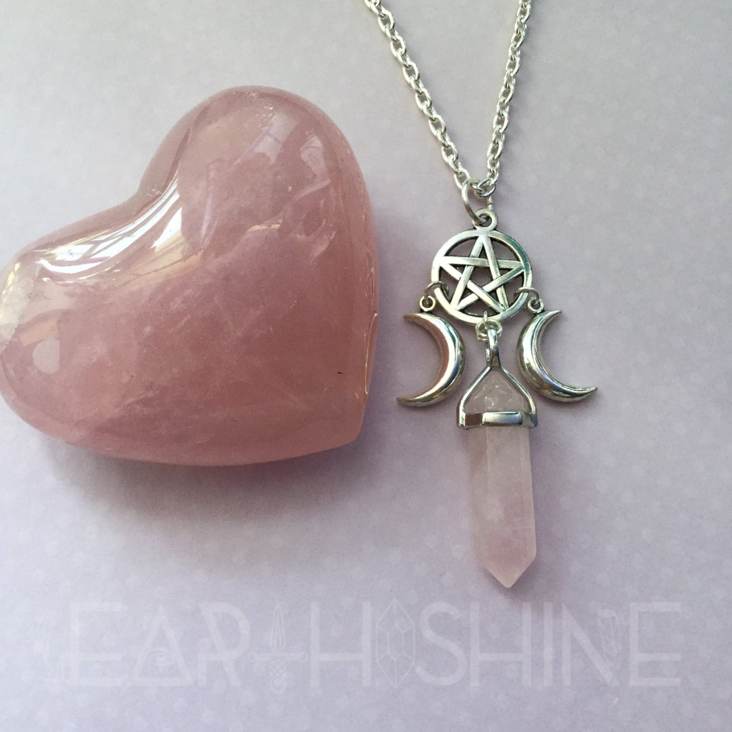 Crystal necklace witch moon pentacle necklace triple goddess gallery photo gallery photo mozeypictures Choice Image