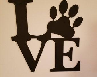 Paw Love CNC Plasma Cut Metal Wall Art,Home Decor,Gift for Animal Lovers,Dog Art