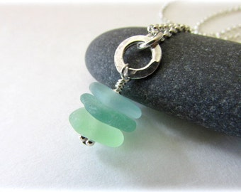 Sea Glass Pendant. Sterling silver necklace. Handmade Maine Jewelry. Sea glass jewelry. Seaglass necklace.