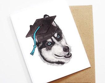 Graduation Card - Husky, Grad Card, College Graduation, High School Grad, Congrats Grad, Congrats Card, Cute Dog Card