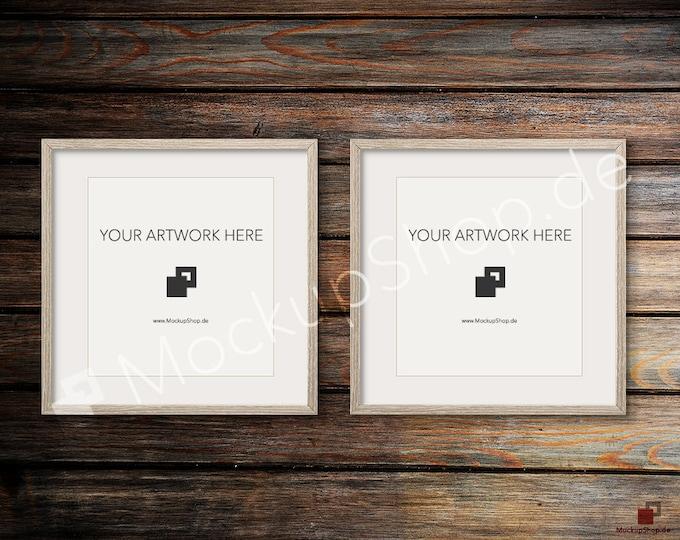 Set of 2 SQUARE MOCKUP FRAME on old dark wooden wall, Frame Mockup, Amazing brown photo frame mockup, Digital Download