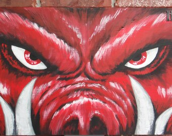 "Official Arkansas Razorback painting ""Tusk II"" on high quality pine wood"