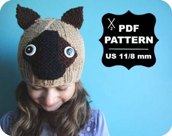 English-French Two Needle KNITTING PATTERN / Digital Download / #49 / Knitted Fox Hat / 6-16M to 5 years-Adult / US11 / 8mm