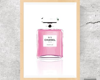 Chanel Print, Chanel Perfume, Fashion Print, Fashion Poster, Pink, Minimalist Print, Fashion Art, Chanel Nº 5, Perfume Bottle