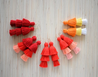 25 Colors - Ombre Red Tassel Earrings Layered Tassel Earrings Burgundy Tiered Tassel Earrings 3 Tiers Tassels Fringe Statement Earrings