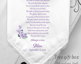 Daughter Wedding Handkerchief From Mother Of Bride- From Mom To Daughter Gift-You Are The Mirror Of My Past-Printed-Free Wedding Gift Box