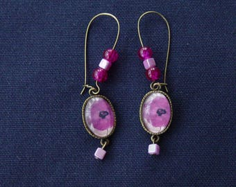Bronze metal purple poppy earrings