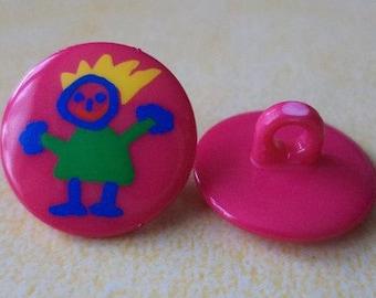 8 Children's Buttons Pink 14mm (437) Buttons Kids button