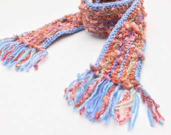 Pink Clouds Pixie Scarf - Soft & Warm Pink Scarf for Kids - Kid's Pink Blue Striped Scarf very warm soft textured - pink scarf for children