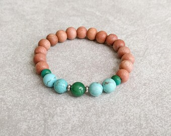 Bohemian Bracelet - Rosewood Bracelet Jade/Turquoise Howlite - Yoga Jewelry - Mala Bracelet - Hippie Bracelet - Gypsy Bracelet - Item #379