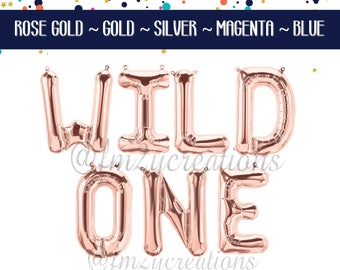 WILD One Rose Gold Birthday Banner | Pink and Gold First Birthday One Balloon Banner | Wild One Balloon Banner | First Birthday Party Decor