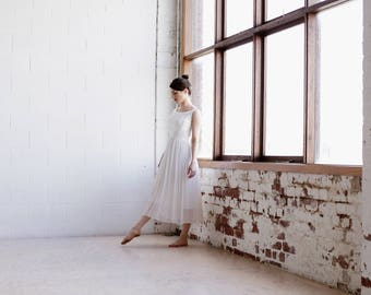 The MARGOT Dress / Vintage 1960s Lorrie Deb Ballerina Dress / White Brocade / Chiffon Dress / Petite Danseuse Collection /  XS/S
