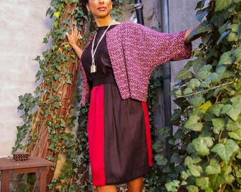 silk skirt and cotton sweater