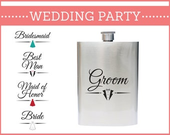 Wedding Party Gift Flask 8 oz Stainless Steel GORGEOUS!