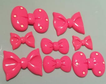 8 MixedBows Cabochon Pastel Flatback Flat Back Coloured Bow Resin Kawaii to Glue for Phone DIY Custom Pink 30mm to 50mm
