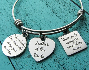 Mother of the bride gift from daughter and son in law, Mom of bride bracelet from bride groom, Mother in law wedding gift, Mom bridal gift