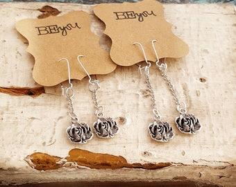 Rose Earrings, Flower Dangle Earrings, Silver Earrings, Bridal Earrings, Long Earrings, Romantic Jewelry, Flower Jewelry, Women's Gift