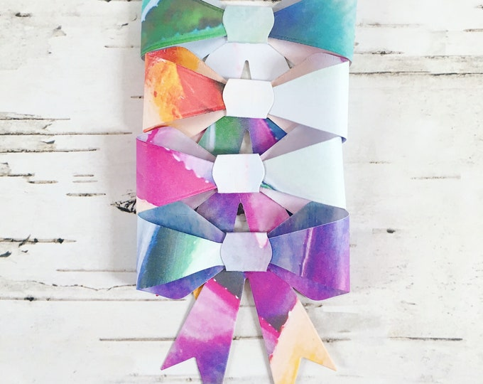 Bows, gift bows, floral gift bows, paper bows, floral paper bows, gift wrap, floral gift wrap, gift topper, four pack, pack of bows