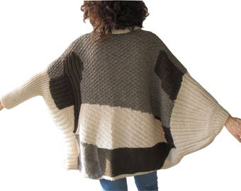 Patchwork Sweater, Oversized Jumper, Plus Size Sweater, Hand Knitted Sweater, Hand Knit Sweater