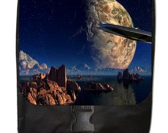 Space Meets Earth Landscape - Large Black School Backpack