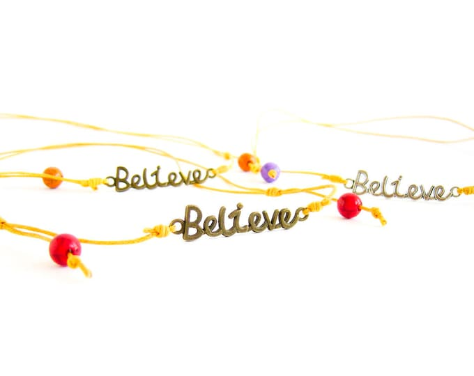 Believe Necklace, Believe Jewelry, Believe Yourself - Handmade Gift Bar Necklace Pendant, Adjustable. For Him And Her