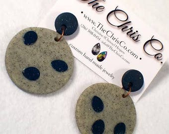 Grey + Navy Clay Drop Earrings