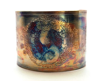Etched Copper Cuff  Bracelet - Moongazing hare design - large size