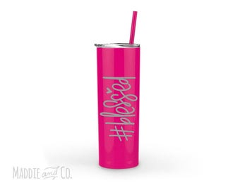 Blessed Tumbler, etched tumbler, laser engraved cup set