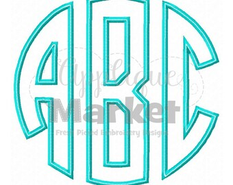 Machine Embroidery Design Applique Circle Monogram Applique Font INSTANT DOWNLOAD