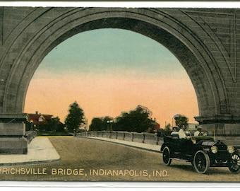 Emrichsville Bridge Arch Indianapolis Indiana 1910c postcard