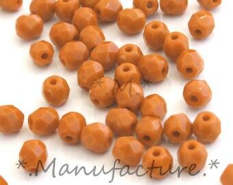 4mm (100pc) opaque caramel brown, faceted glass, Czech glass beads set