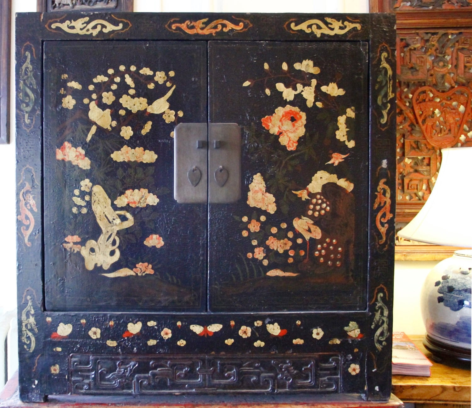 🔎zoom - Antique Black Lacquer Cabinet With Motif Strange Imports